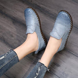 2018 Spring Genuine Leather Flat Shoes Lady Slip On Loafers Casual Shoes Female Fashion Sneaker