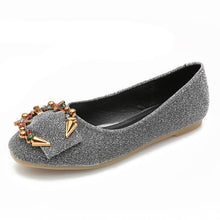 Women's Flats PU Leather Fashion Metal Ring Decoration Ballet Flats Bling Flat Shoes