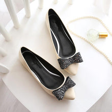 Women's flats shoes PU leather fashion pointed Toe diamond bowknot