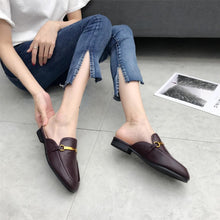 Designers 2018 Summer Superstar Golden Metal Chain Leather Slides Round Toe Slip On Loafers Mules