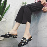 Designer 2018 Summer Sweet Big Pearl Rinestone Square Toe Low Heels Leather Slides Slip