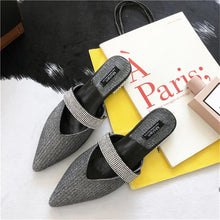 2018 Summer Superstar Sequined Cloth Bling Slides Woman Sexy Crystal Heels Flat Slippers Loafers