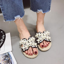 Designers 2018 Summer Superstar Pearl Crystal String Bead Woman Slippers Hemp Slides Beach Shoes