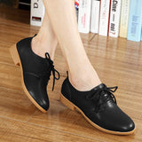 Classic Women Genuine Leather Flat Oxfords Shoes Casual Solid Lace Up Ladies Flats