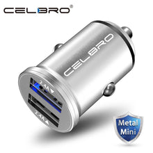 Mini Dual USB Car Charger Adapter 4.8A Metal Car USB Charger Auto Charge 2 Port 24W