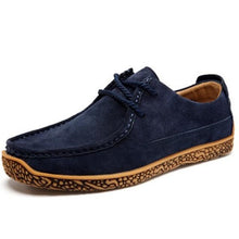 Men Casual leather shoes Genuine leather Lace-Up Loafers Soft Comfortable Male Flats Boat shoes