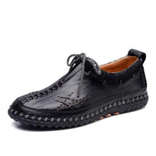 Men's Driving shoes Breathable Leather Casual Shoes Handmade British style Lace-Up Flats Boat Shoes