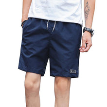 Men Summer Breathable Casual Shorts Knee Length Elastic Waist Beach Shorts