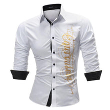 Fashion Male Plus Size Shirt Long-Sleeves Tops Letter Print Mens Dress Shirts