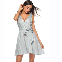 Sexy V Neck Light Blue Striped Women Dress Sleeveless Mini A-line Summer Dress
