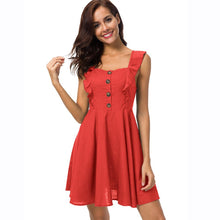 Sexy Green Women Dress Ruffled Cotton A-line Mini Skater Sleeveless Casual Summer Dresses