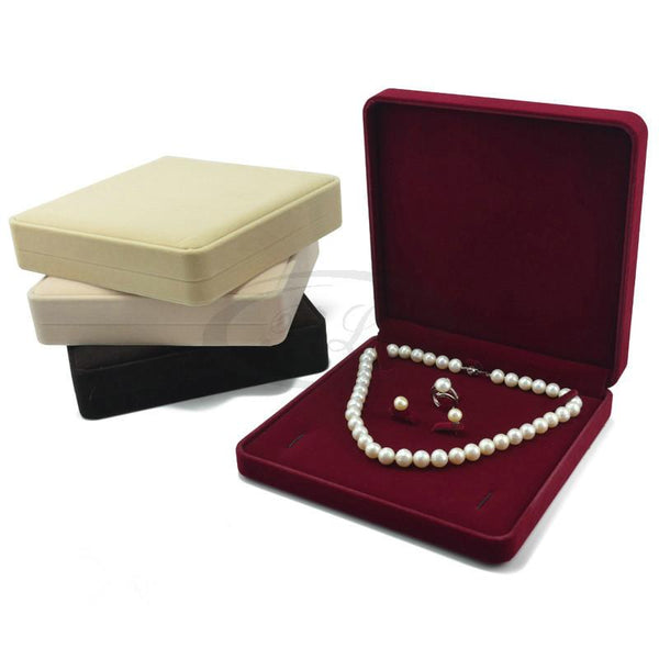 19x19x4cm Necklace Earring Ring Gift Box Velvet Wedding Packaging Box Case