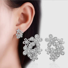 Luxury Crystal Inlaid 925 Fashion Hypoallergenic Flowers Sterling Silver Jewelry
