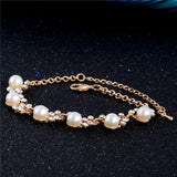 Fabulous 1pc Gold Color Austria Crystal Imitation Pearl Link Chain Bracelet