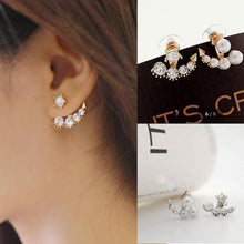 Hot Gold Color Fashion Women Elegant Imitation pearls Crystal Ear Stud Earrings jewelry