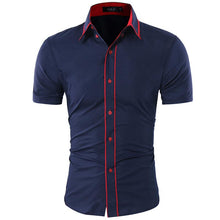 Fashion Male Short-Sleeves Tops Double Collar Button Design Mens Dress Shirts