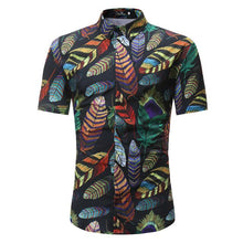 Fashion Male Short-Sleeves Tops Casual Feather Print Floral Shirt Mens Dress Shirts