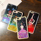 Dress Girl Bling Gliteter Liquid Phone Cases For iPhone 7 Fashion Back Cover Capa
