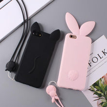 3D Soft Cat Rabbit Ear Silicone Case Cute Candy Colorful Cartoon Phone Case/Bag For iPhone