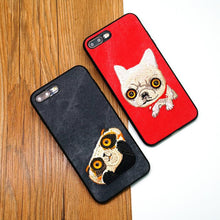 For iPhone 7 8 Case Cute animal embroidery back cover for iPhone Corium Shell Bags silicone