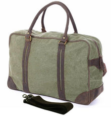 Vintage Military Canvas Leather Men's Travel Bag Large Duffle Bag Canvas Tote Luggage Bag