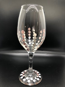 Hand Painted Wine Glass Dot Design