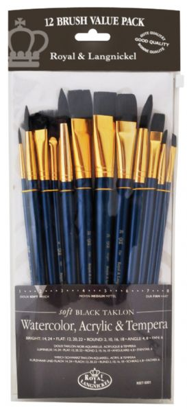 12-Piece Black Taklon Brush Set 1