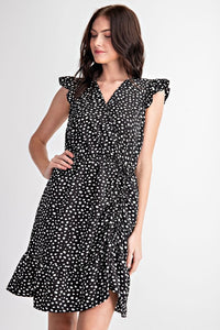 Animal Dot Ruffled Sleeve Dress