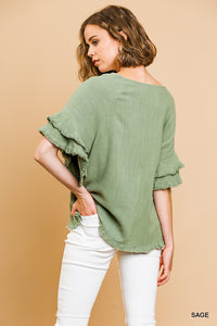 Ruffled Sleeve Top W/Frayed Hem