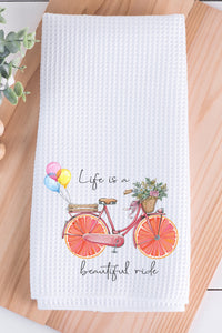Life is a Beautiful Ride Waffle Weave Towel