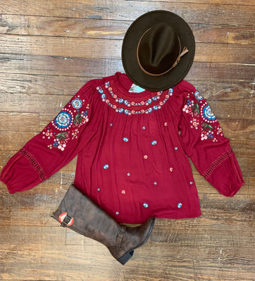WINE LACE SLEEVE TOP