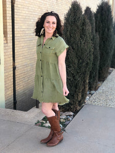 Button Front Pocket Dress