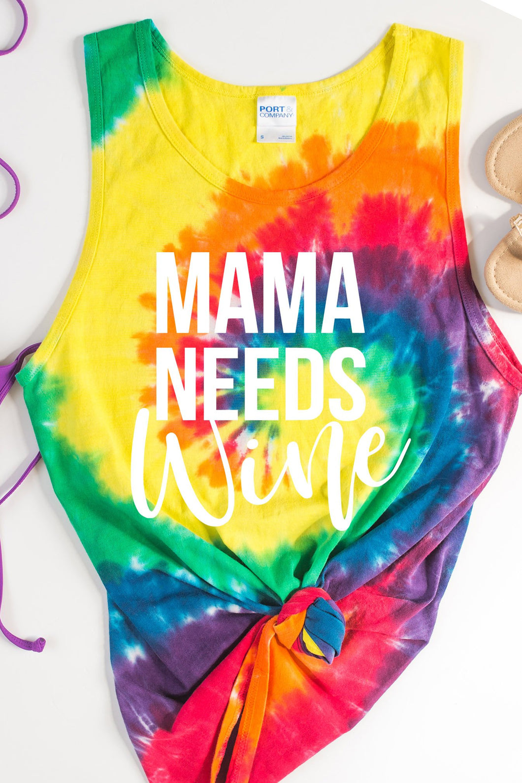 Mama Needs Wine Tie Dye Tank Top