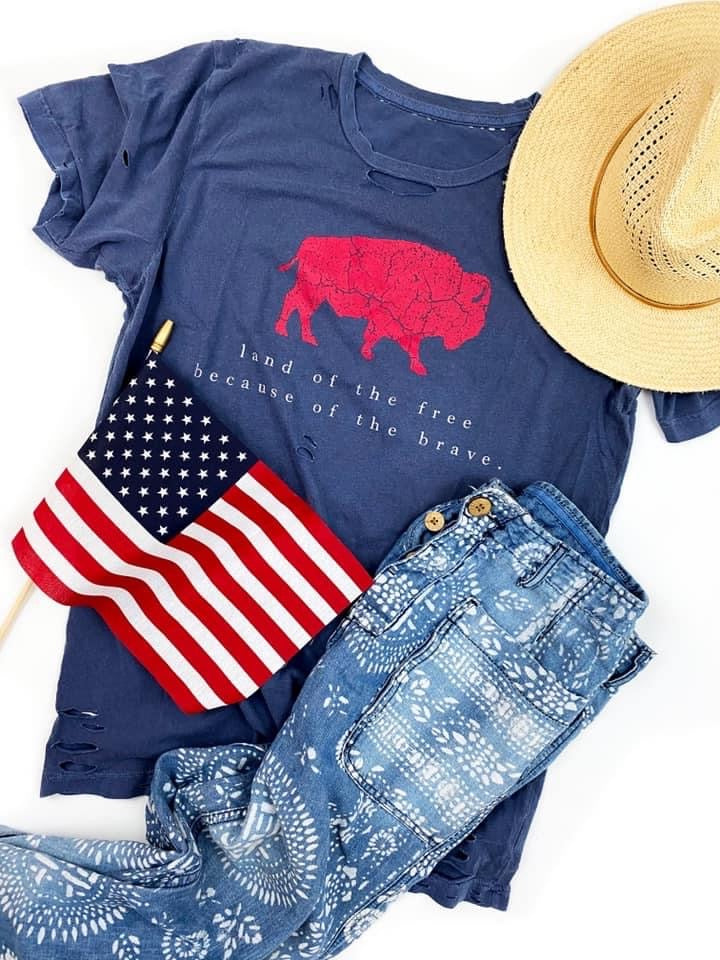 Land of The Free Buffalo Tee