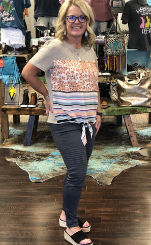 Animal and striped print short sleeve Top