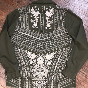 Army Green Light Weight Embroidered Jacket