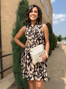 Black Animal Print Sleeveless Dress