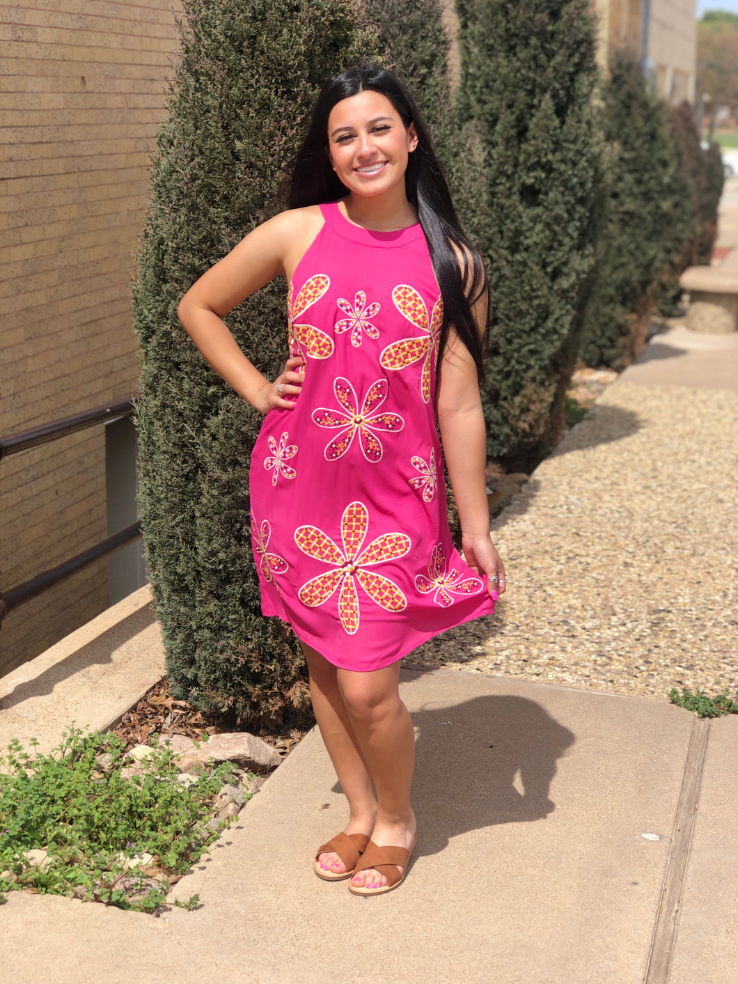Magenta Dress with Multi Print Flowers