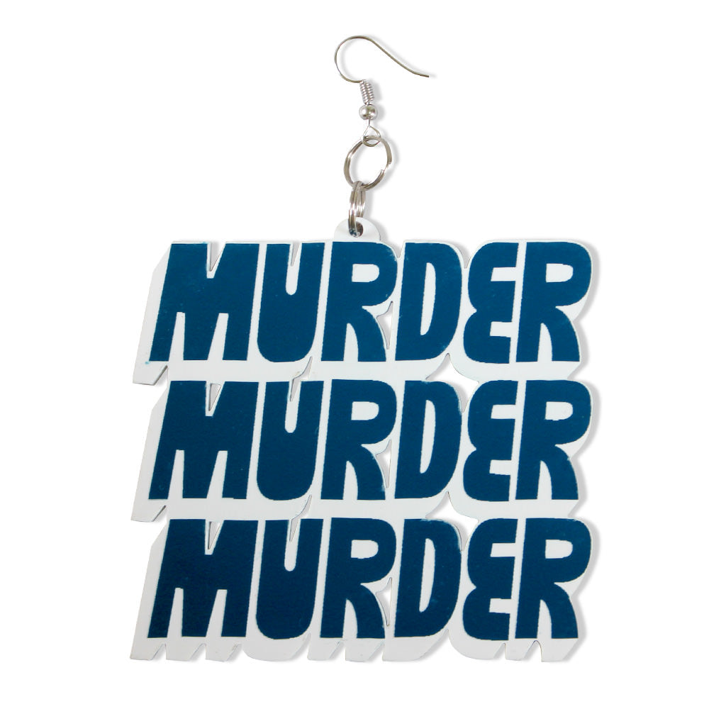 DETROIT'S EARRINGS - MURDER / KILL (Teal/White)