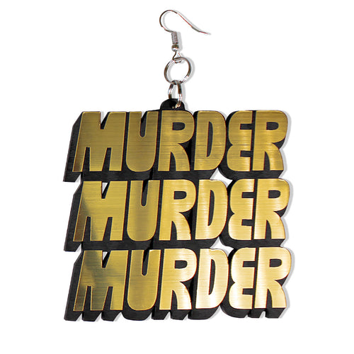 DETROIT'S EARRINGS - MURDER / KILL (Black/Gold)