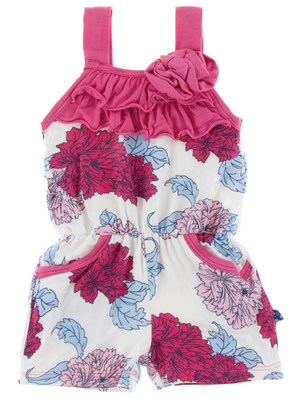 Natural Peony Flower Romper w/ Pockets