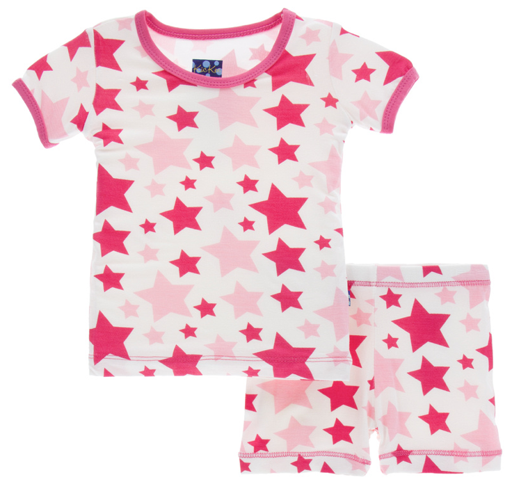Flamingo Star Short Sleeve Pajama Set w/ Shorts
