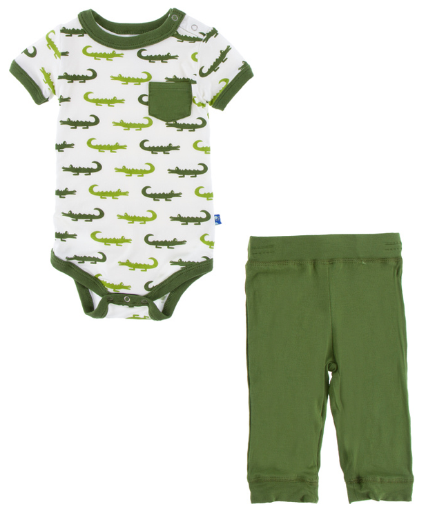Natural Crocodile Short Sleeve Pocket One Piece & Pant Set