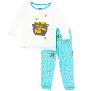 KicKee Pants - Glacier Honeycomb Long Sleeve Pajama Set - kkgivingtree - K&K's Giving Tree