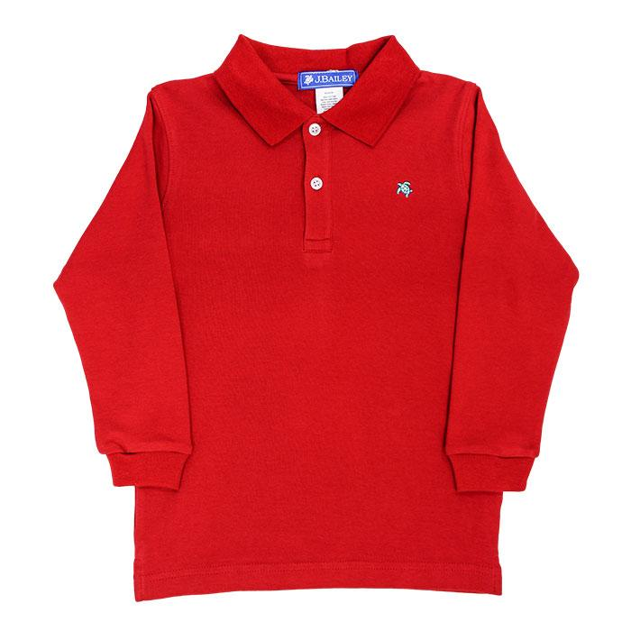 The J Bailey Harry - Soft Knit Long Sleeve Polo in Red