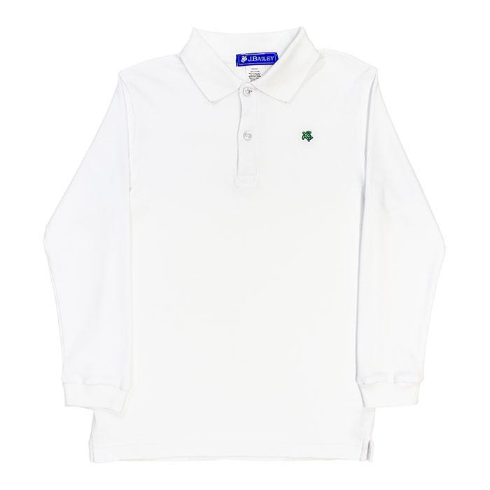The J Bailey Harry - Soft Knit Long Sleeve Polo in Classic White