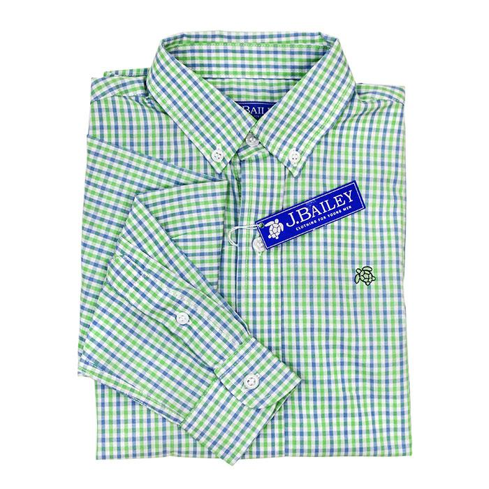 Bailey Boys - Surf Blue & Green Check Button Down Shirt - kkgivingtree - K&K's Giving Tree