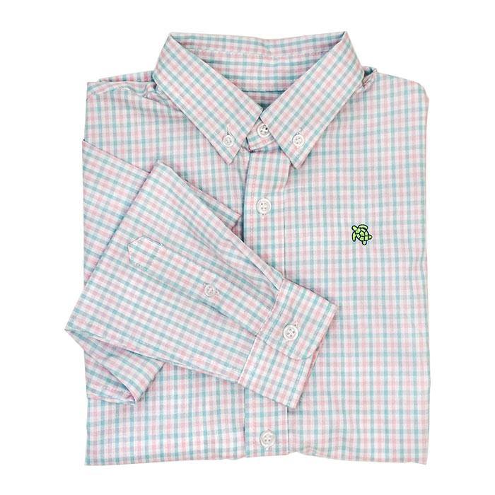 Aqua & Pink Surf Check Button Down Shirt