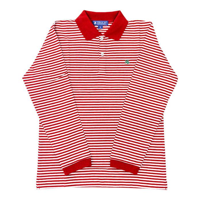 The J Bailey Harry Long Sleeve Polo in Red and White Stripe