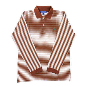 The J Bailey Harry Long Sleeve Polo in Brown and White Stripe